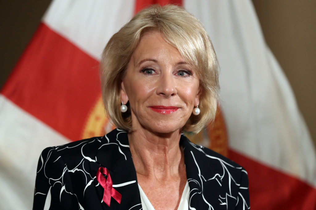 U.S. Secretary of Education Betsy Devos speaks during a news conference at the Marriot Heron Bay in Coral Springs, Fla., after meeting with students at Marjory Stoneman Douglas High School in Parkland on Wednesday, March 7, 2018. (Amy Beth Bennett/Sun Sentinel/TNS)