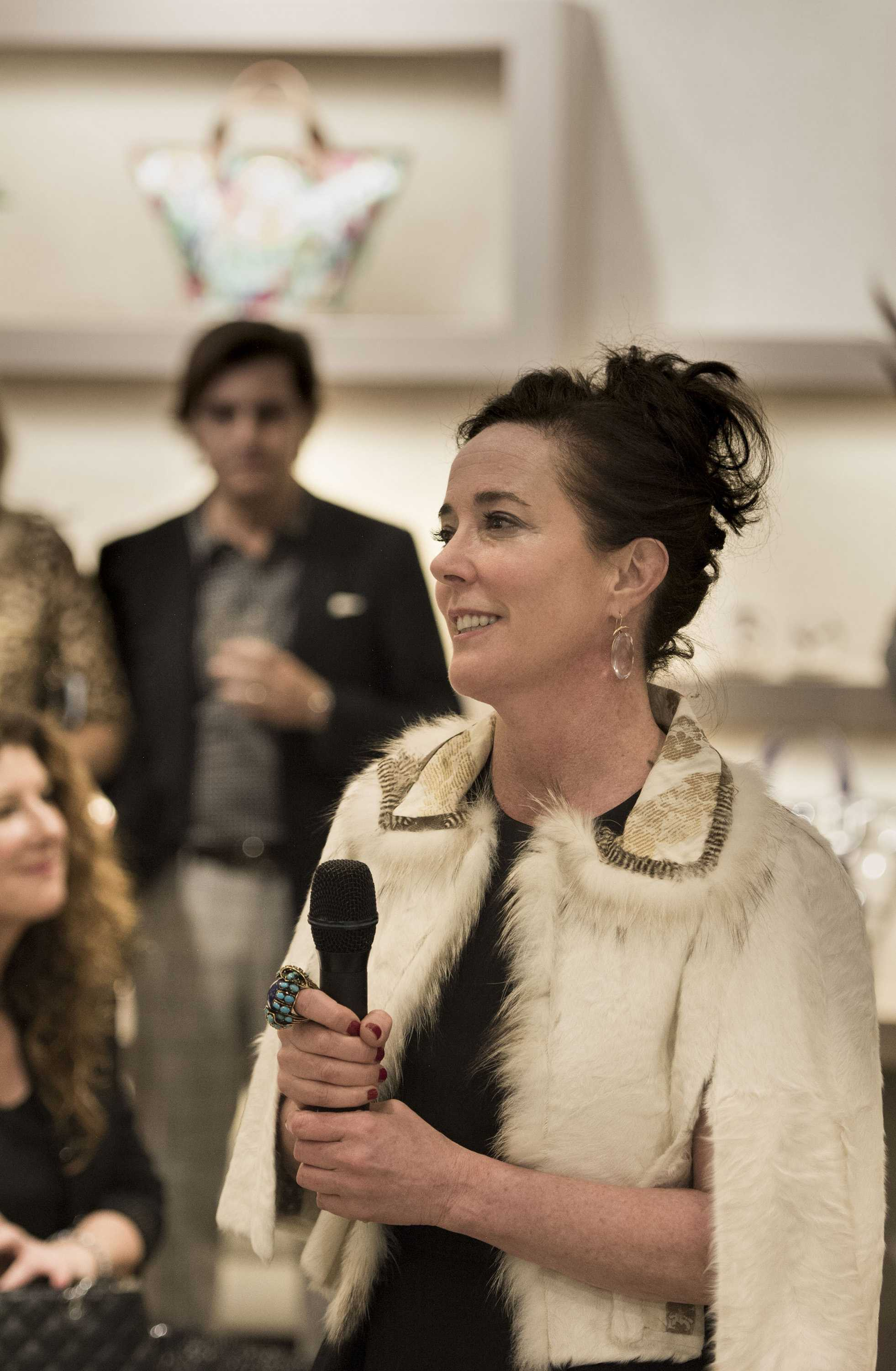 Kate Spade speaks to the crowd during an event at Hall's on Grand at Crown Center Plaza on Wednesday, March 9, 2016 in Kansas City, Mo. (Shane Keyser/Kansas City Star/TNS)