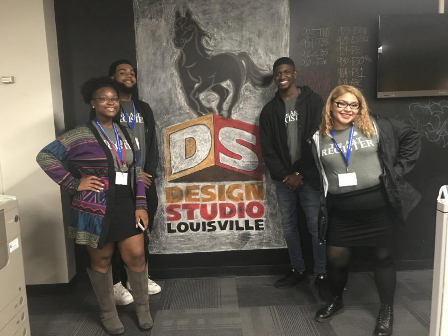 (from left to right) Elaijah Gibbs-Jones, Jaylin Saunders, Jarod Hamilton and Zila Sanchez visit the Louisville Design Studio in Kentucky