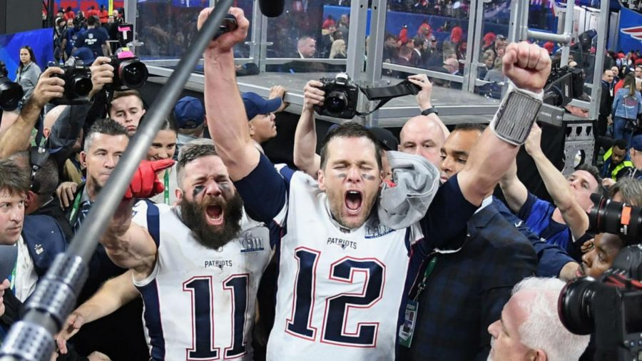 Tom+Brady+and+Super+Bowl+MVP+Julian+Edelman+celebrate+their+third+title+in+six+years.