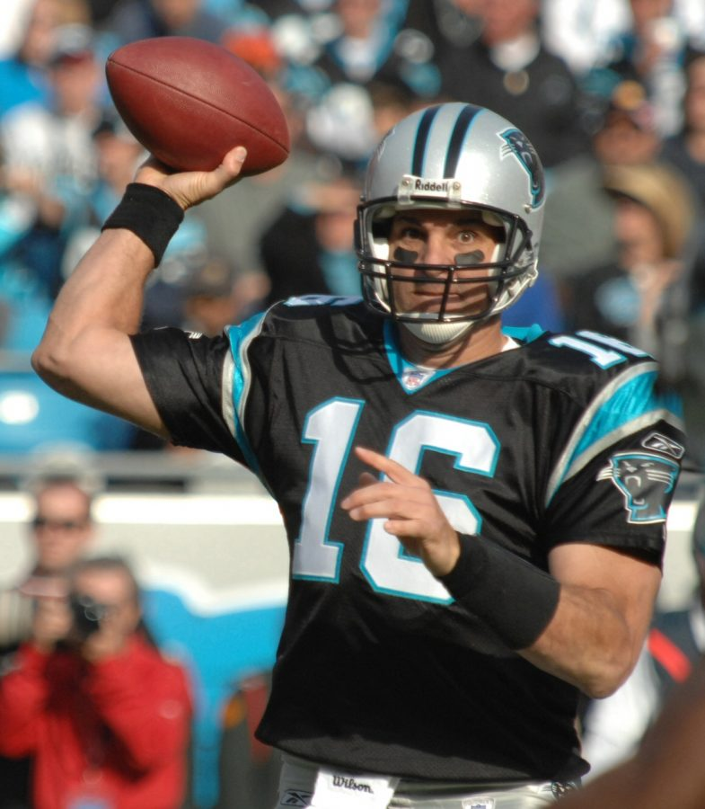 CHARLOTTE, N.C. -- Carolina Panthers quarterback, Vinny Testaverde, attempts a pass Nov. 11 against the Atlanta Falcons.  (U.S. Air Force photo/Staff Sgt. Henry Hoegen)