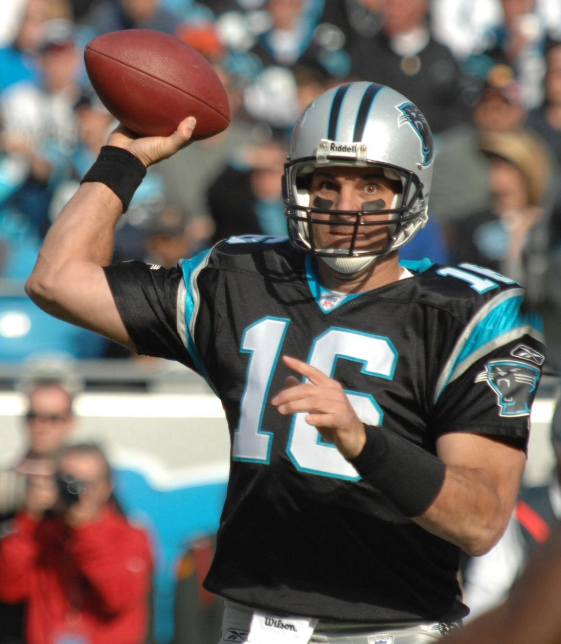 CHARLOTTE, N.C. -- Carolina Panthers quarterback, Vinny Testaverde, attempts a pass Nov. 11 against the Atlanta Falcons.  (U.S. Air Force photo/Staff Sgt. Henry Hoegen)