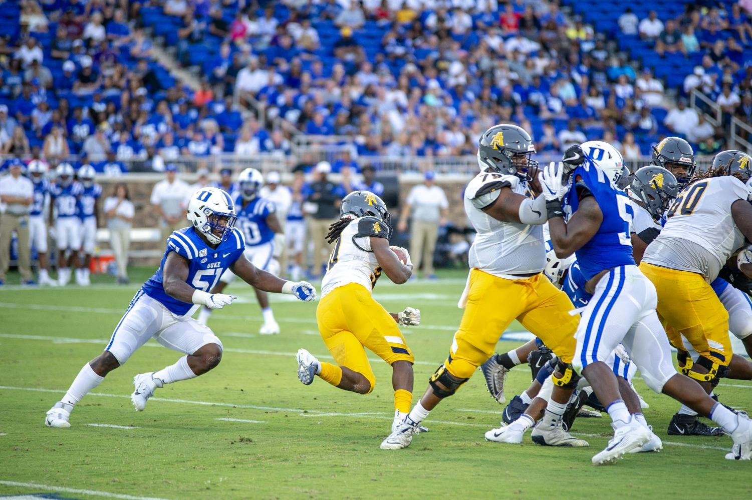 The N.C. Aggies faced the Duke Blue Devils on Saturday, Sept. 7, 2019 at the Wallace Wade Stadium.  Jamar Plunkett | Photography Editor | The A&T Register