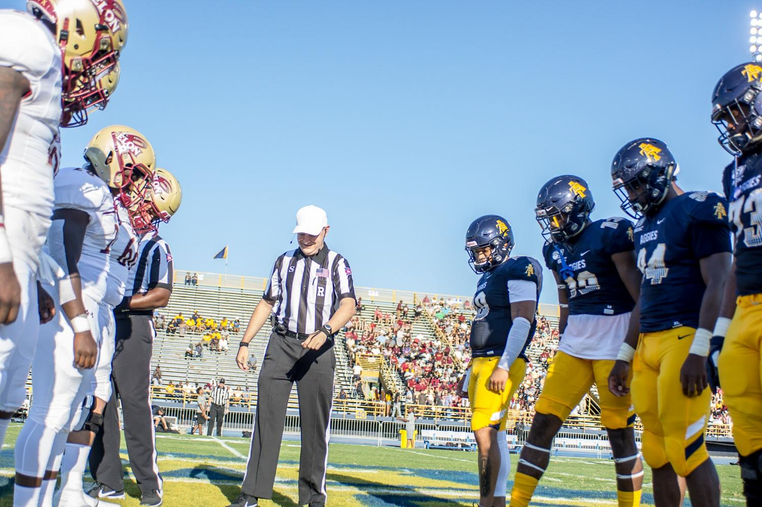 The+Aggies+and+Phoenix+face+off+during+the+coin+toss.%0AJamar+Plunkett+%7C+Photography+Editor+%7C+The+A%26T+Register