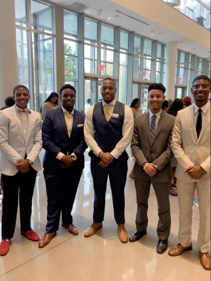 (Left to right) Malique Hawkins, Mister Freshman; Parker Wilson, Mister Junior; Armani May, Mister N.C. A&T; Gary Hooker, Mister Senior; Joshua Suiter, Mister Sophomore  The newly elected class kings pose with the elected Mister N.C. A&T.
