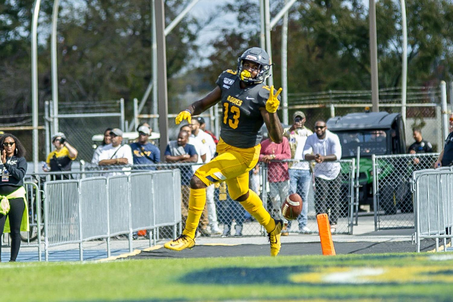 Wide receiver Elijah Bell, senior, sprints in the end zone during N.C. A&T's homecoming game on Oct. 26, 2019