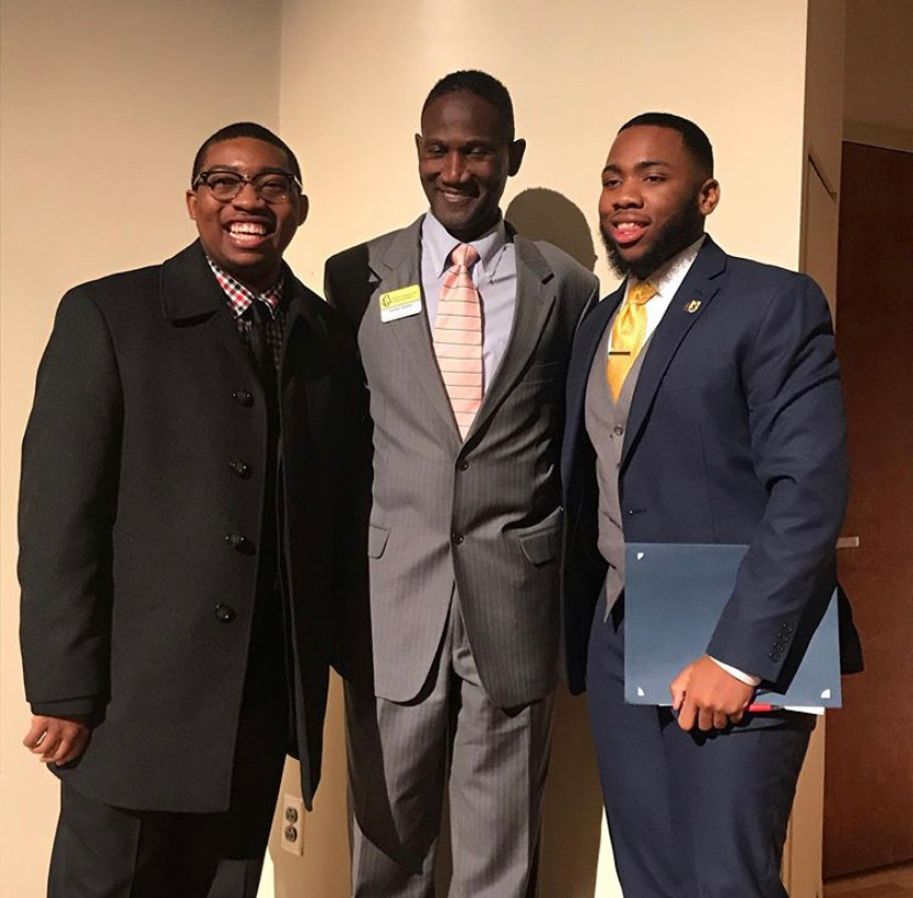 Director of N.C. A&T Multicultural Student Center, Gerald Spates (center) with winner of NC A&T Oratory Contest (left) and recipient of UNCG MLK Service Award (right).