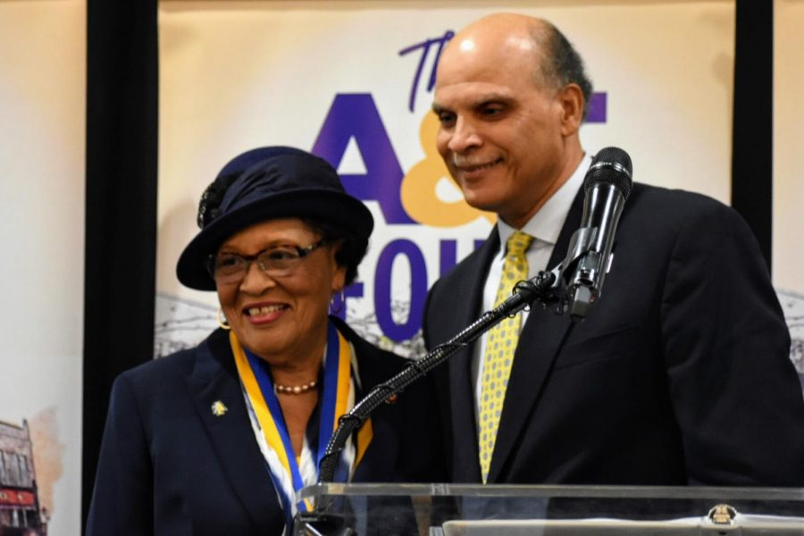 Rep. Alma Adams accepts the N.C. A&T Human Rights Award at February 1 celebration breakfast.