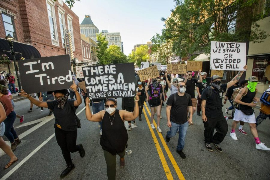 The early scenes of protests from Greensboro on May 31.