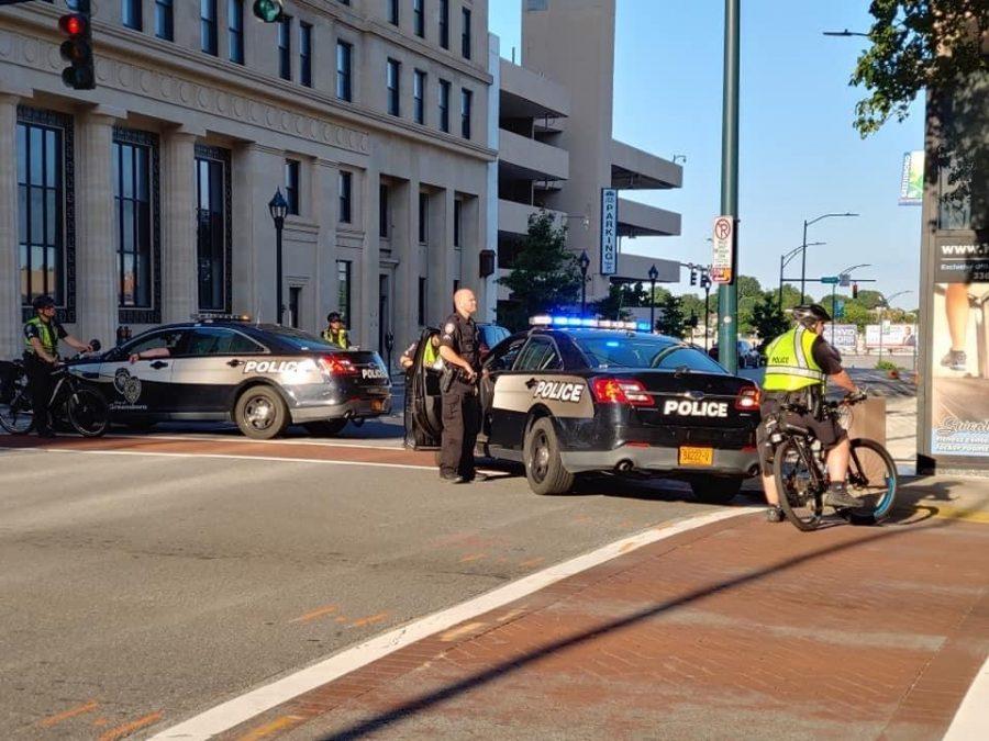 Greensboro Police Officers block traffic.