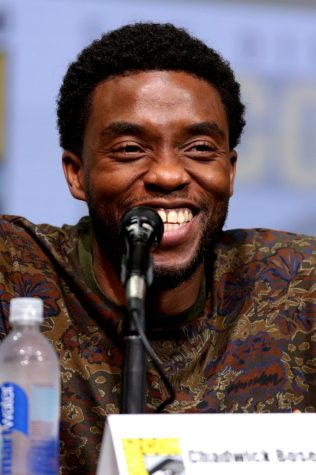 "Chadwick Boseman speaking at the 2017 San Diego Comic Con International, for ""Black Panther"", at the San Diego Convention Center in San Diego, California."