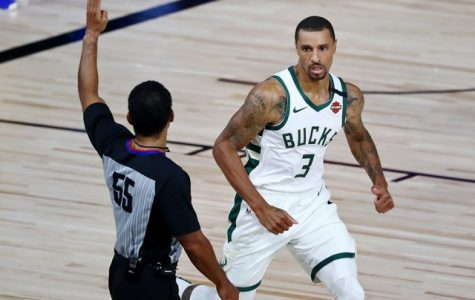 George Hill during the Bucks' first round series versus the Orlando Magic in the 2020 NBA Playoffs.