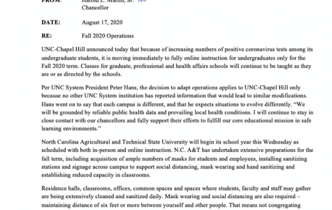 Chancellor Martin releases statement on UNC shift to remote learning