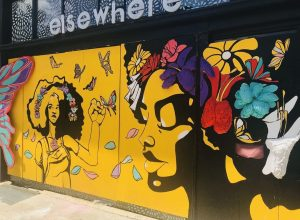 The mural on the storefront of Elsewhere museum. Photo Courtesy of Arts for Life NC on Instagram.