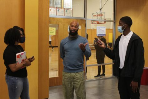 Lauren Mitchell (left) and Jarod Hamilton (right) spoke with Common on why it is important for eligible first time voters to vote.