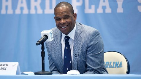 CHAPEL HILL, NC - APRIL 06: Hubert Davis speaks at a press conference introducing him as the new men